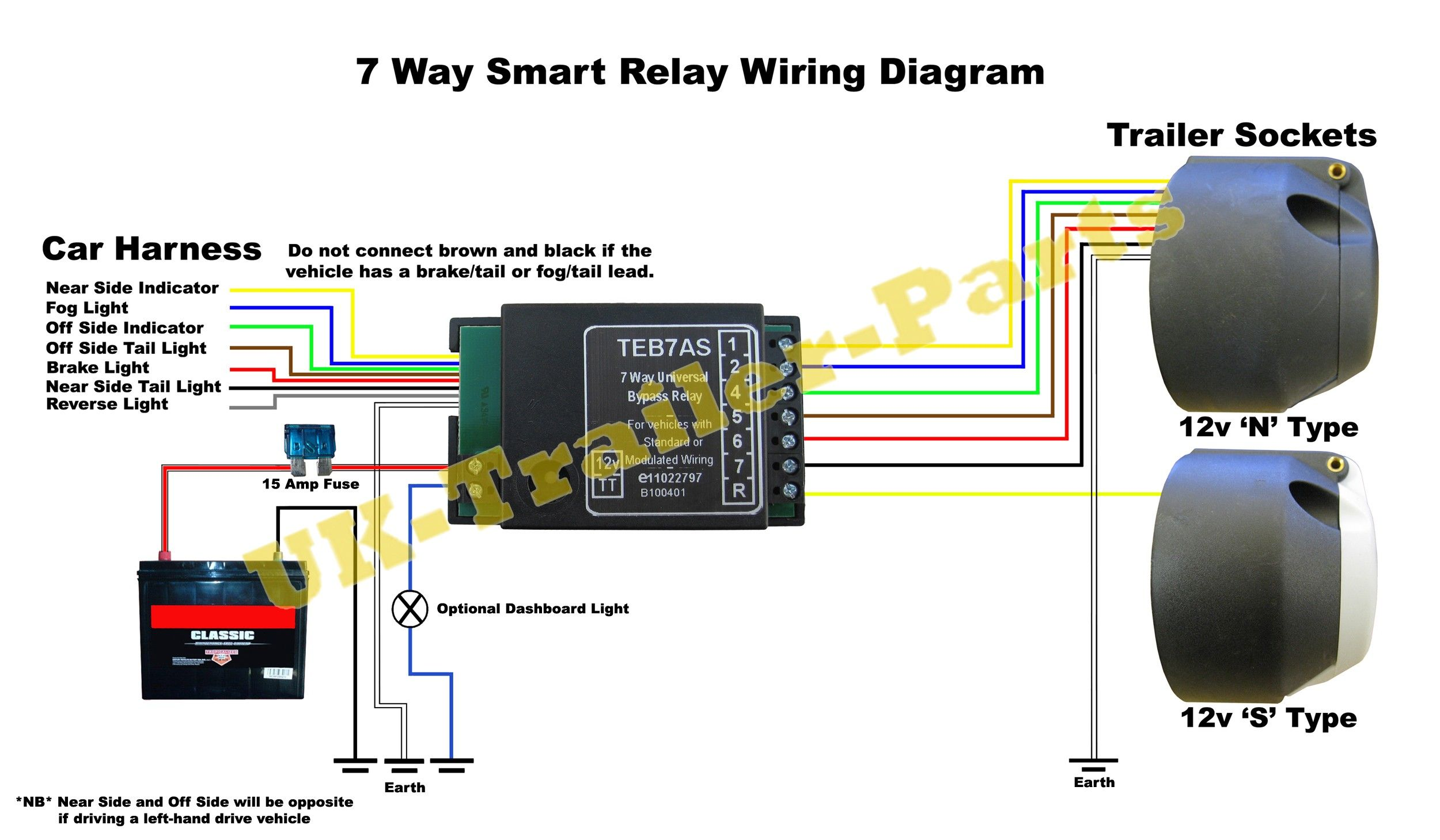Trailer Towing 7 Way Universal Bypass Relay