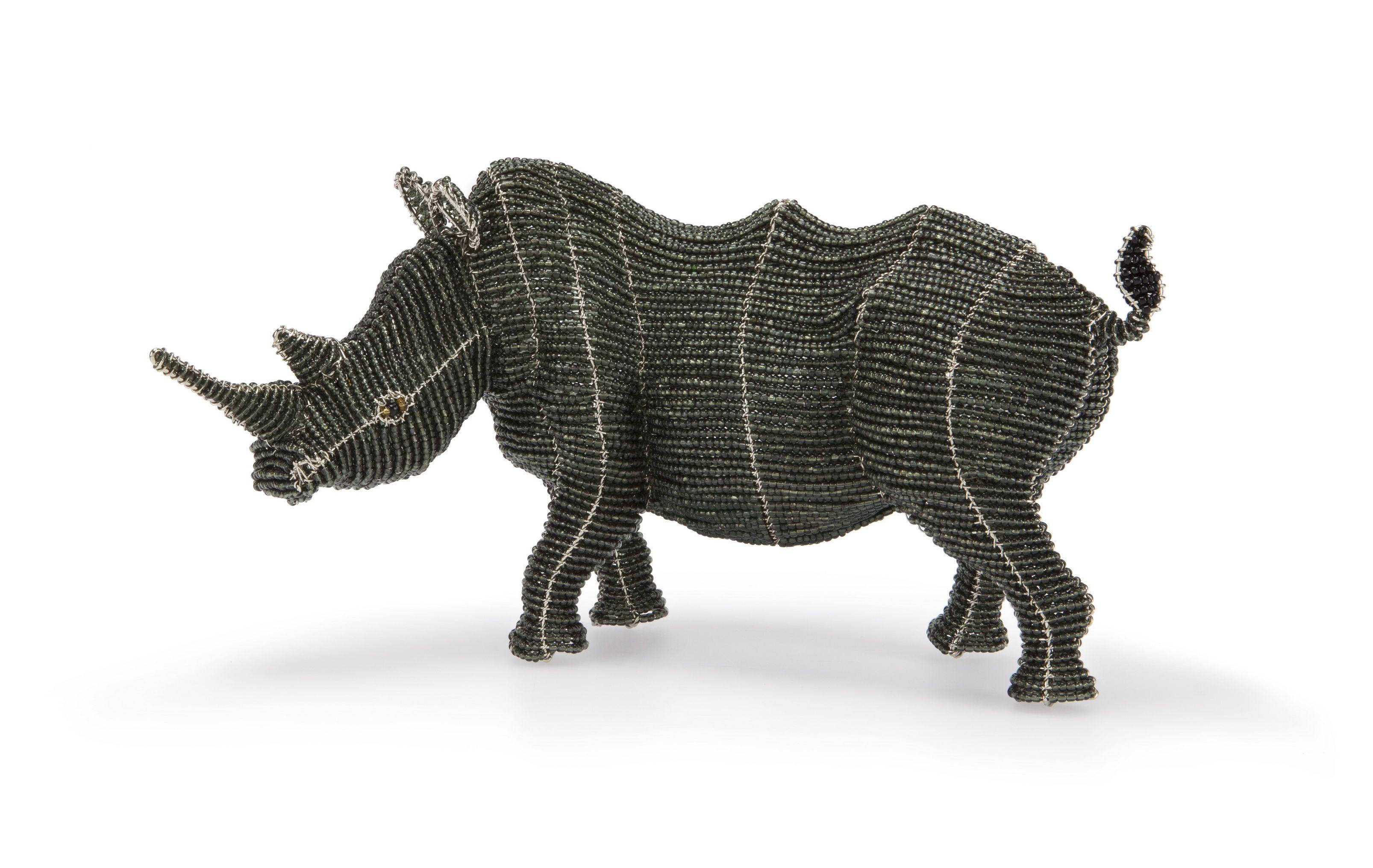Rhino Figurine | Wire and Bead Art | African Creative