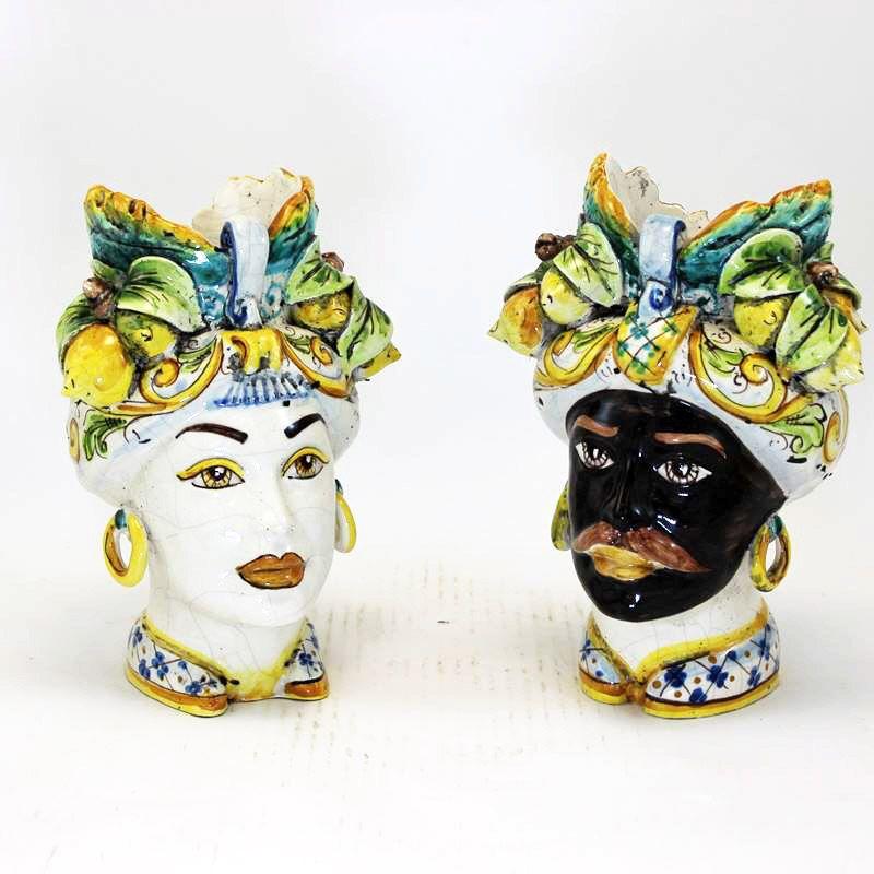 Testa Di Moro Ceramica Verus.Testa Di Moro In Ceramica Siciliana Collezione Linea Verus