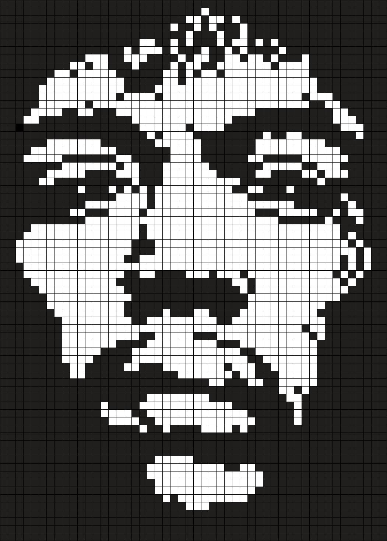 Jimi Hendrix ( 50 X 70 Square Grid Pattern)