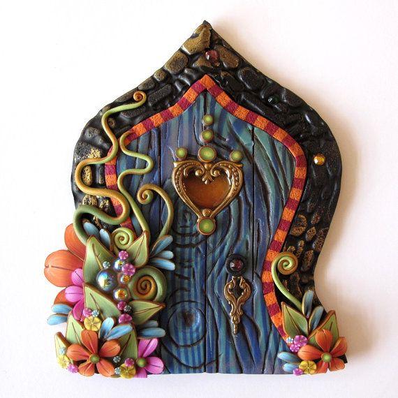 Boho Fairy Door Pixie Portal Blue Miniature Door by Claybykim, $25.00