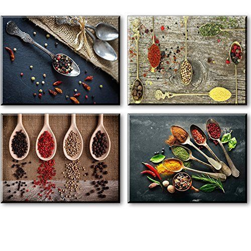 Canvas Art Wall Print Painting Wooden Spoon of Spices Kitchen Tools Home Decor