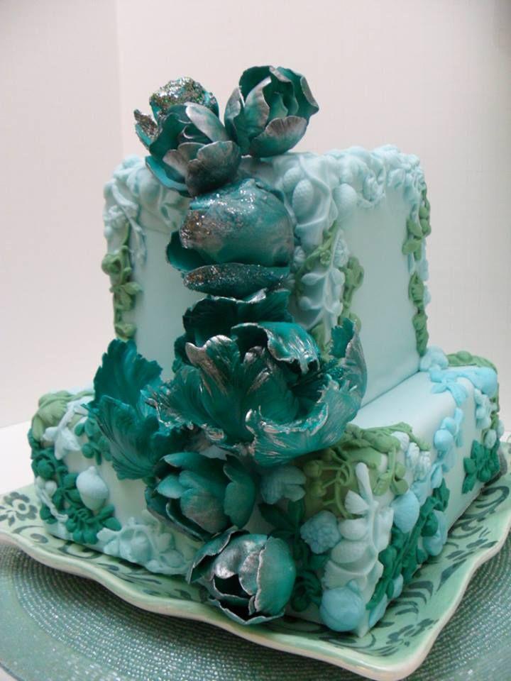 Spring at Tiffany's by Sweet Temptations Custom Cakes by Albena https://www.facebook.com/#!/Albena.cakes