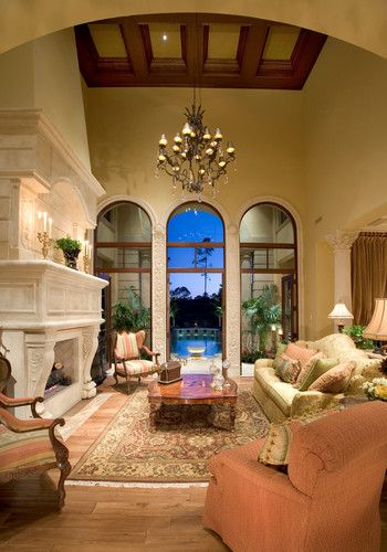 Mediterranean Living Room Tuscan Home Interiors Design, Pictures