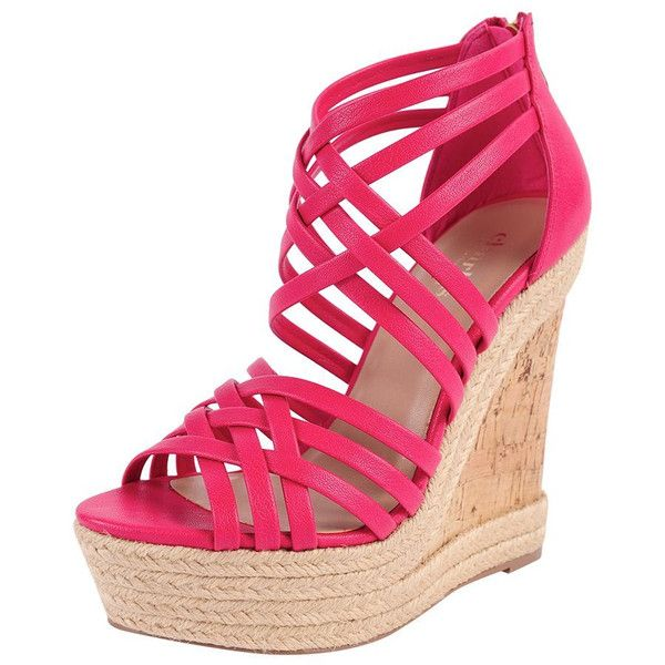 Charles by Charles David Gina (61 BRL) ❤ liked on Polyvore featuring shoes, sandals, wedges, heels, fuschia, platform shoes, charles by charles david shoes, charles by charles david sandals, wedge heel platform shoes and wedge sandals