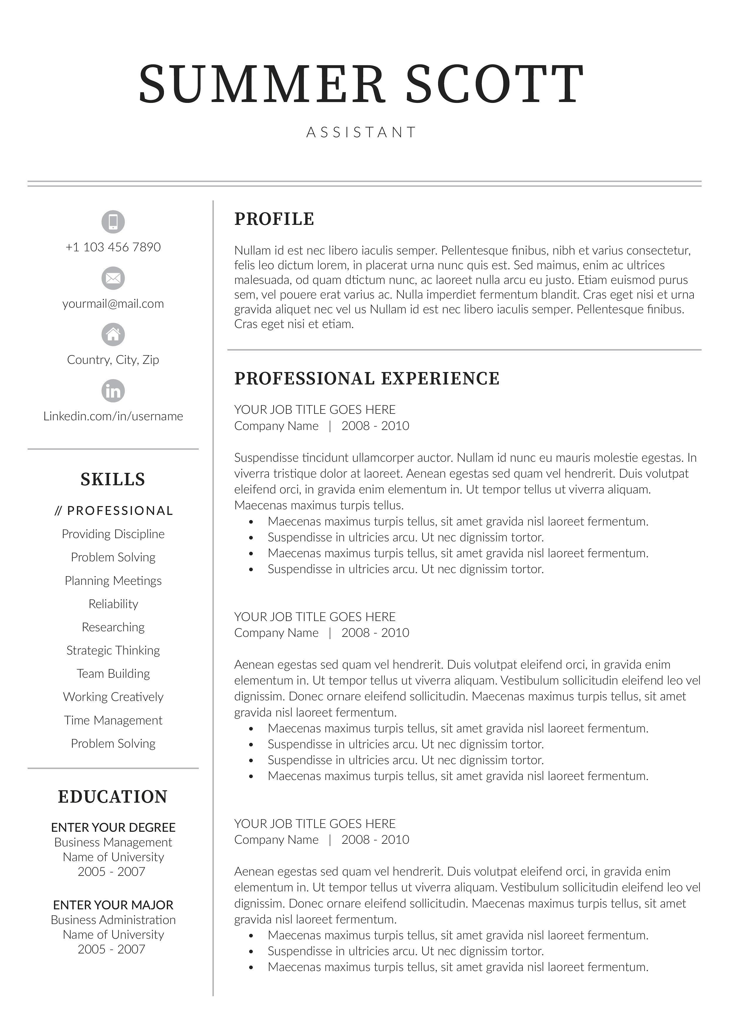 Word Resume | Graphic Design Photography | Resume cover ...