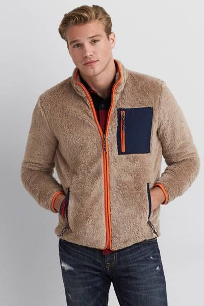e7a9fe8f34 AEO Sherpa Fleece Jacket by AEO | This textured Sherpa Fleece is a ...