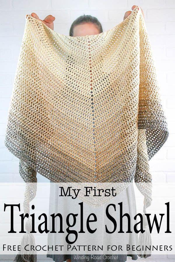 My First Triangle Shawl Free Crochet Pattern - Winding Road Crochet