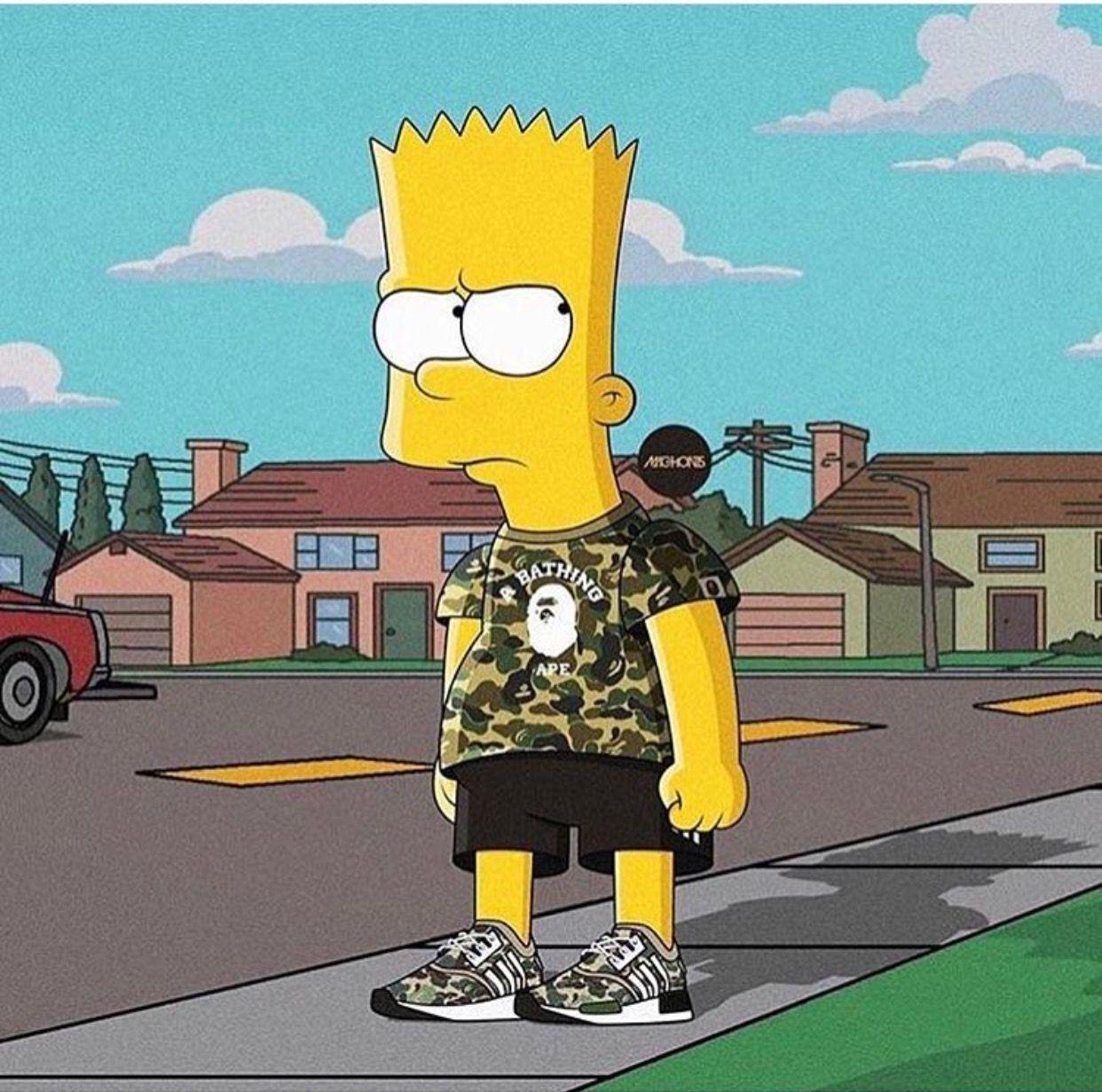 Bart Simpson Hype Bape Adidas Street Style In 2018 Pinterest Lux 5 20pr Wallpaper Sticker Dinding