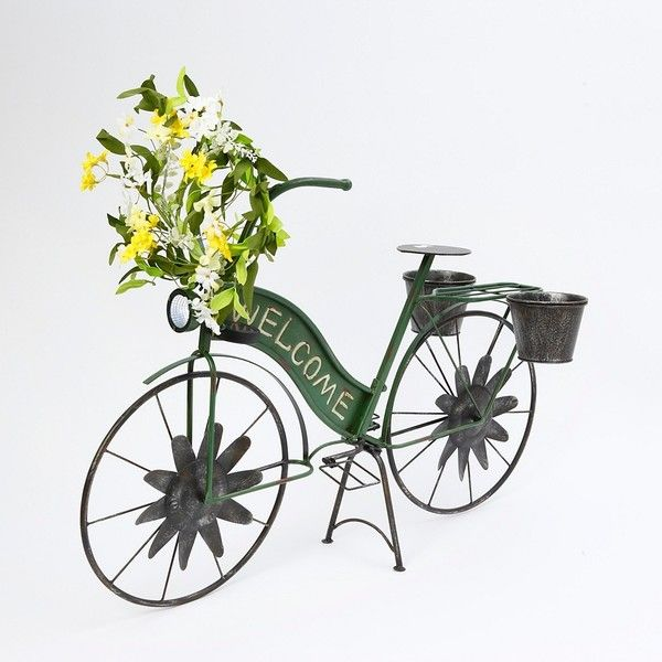 Wonderful Green Solar Light Welcome Bicycle Planter ($80) ❤ Liked On Polyvore  Featuring Home,