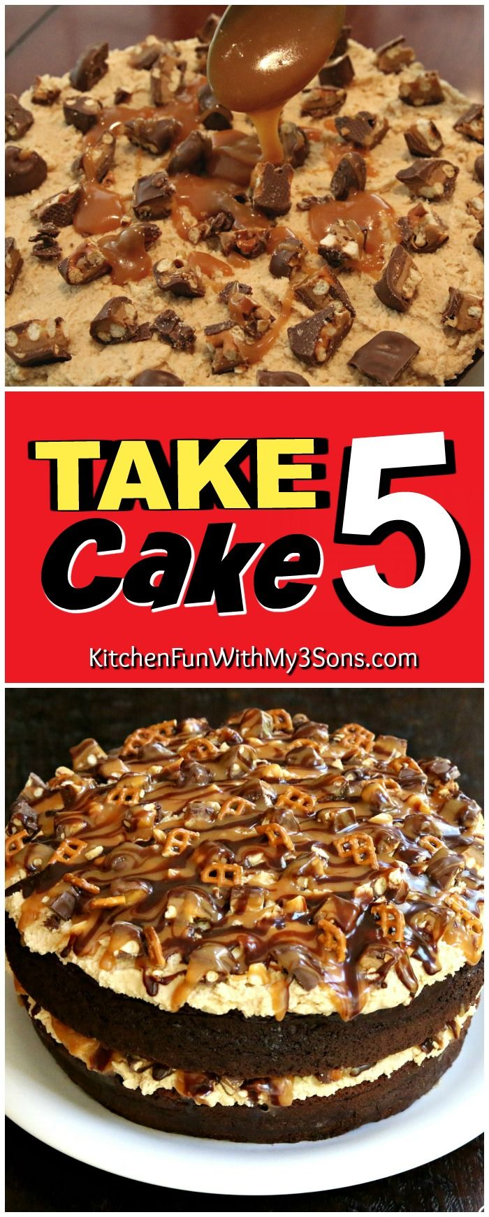 Take 5 Cake The Beloved Candy Bar Has Been Turned Into A Cake And It S Amazing Desserts Cake Recipes Best Cake Recipes