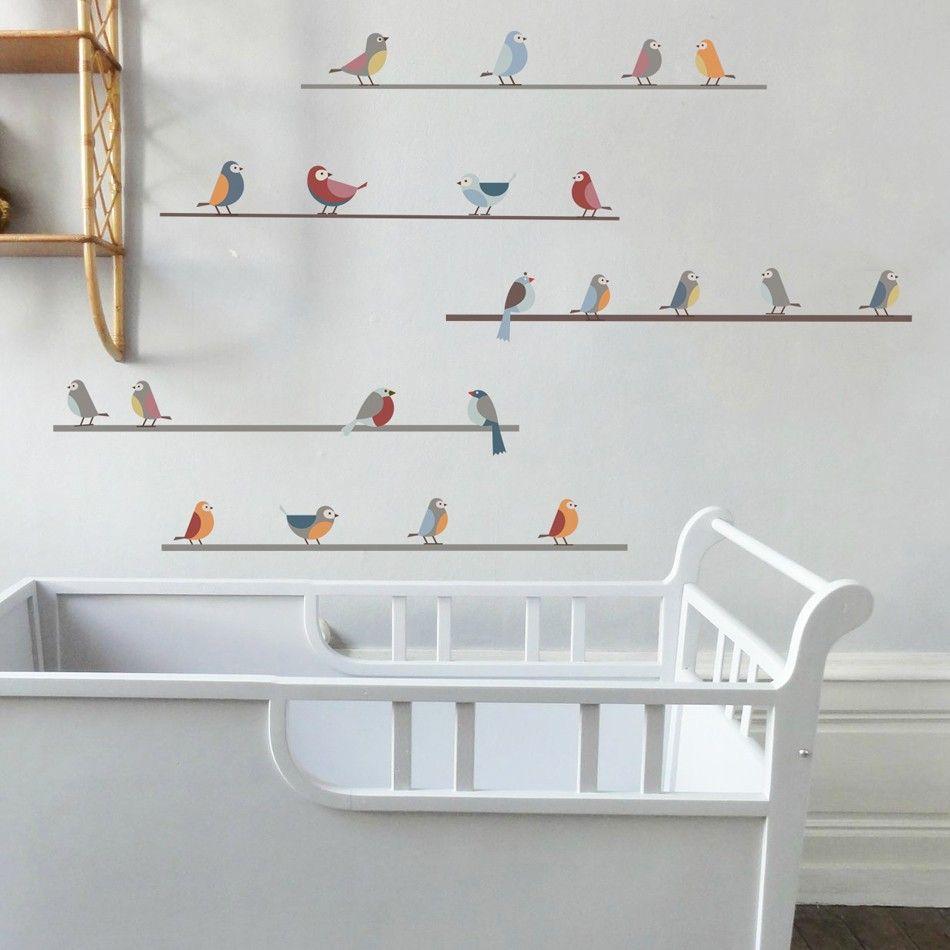 Sticker Oiseaux Sur Un Fil stickers little birds on wires | stickers oiseaux