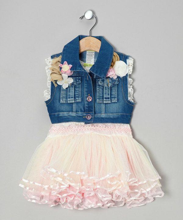 38ea4525f Take a look at this Pink Vogue Tutu Dress   Denim Vest - Toddler ...