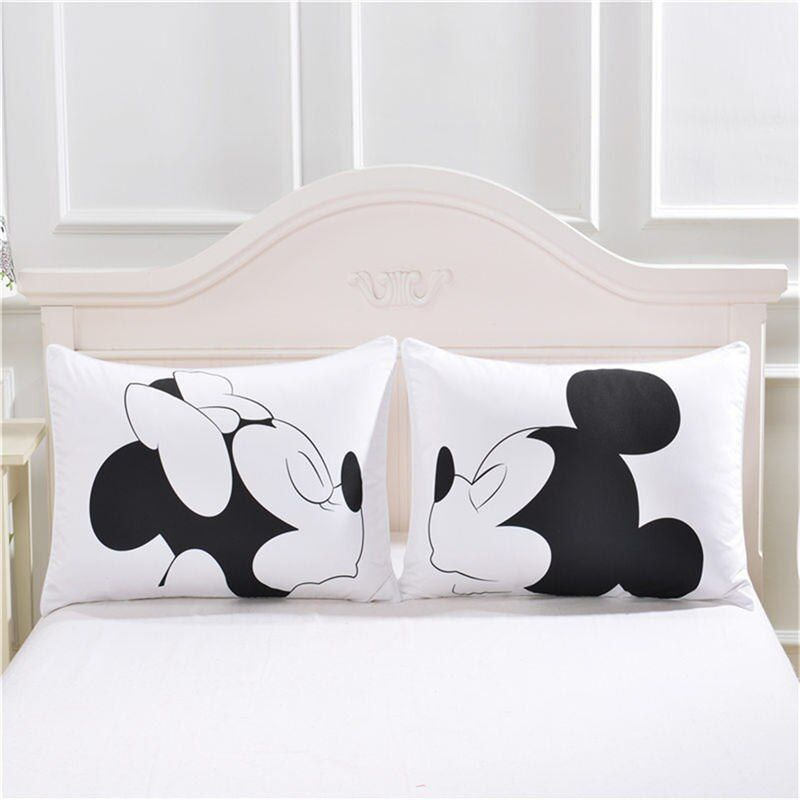 Disney Mickey Minnie Mouse 3D Pillowcases Black White Red 2pcs/Set Couple Lover Gift