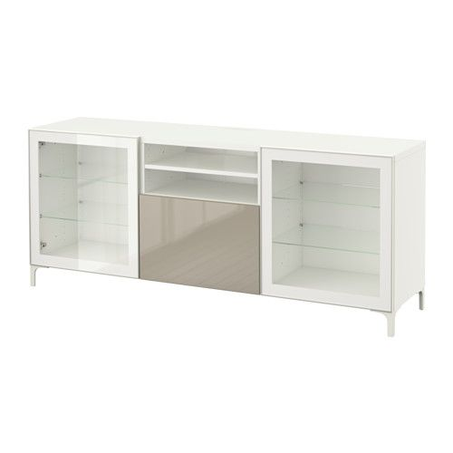 "BESTÅ TV unit with drawers - white/Selsviken high gloss/beige clear glass, drawer runner, soft-closing, 70 7/8x15 3/4x29 1/8 "" - IKEA"