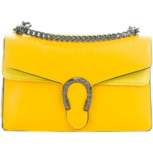 45fd8ba015 Pelletterie Lisa Yellow Embellished Leather Crossbody Bag ( 100) ❤ liked on  Polyvore featuring bags