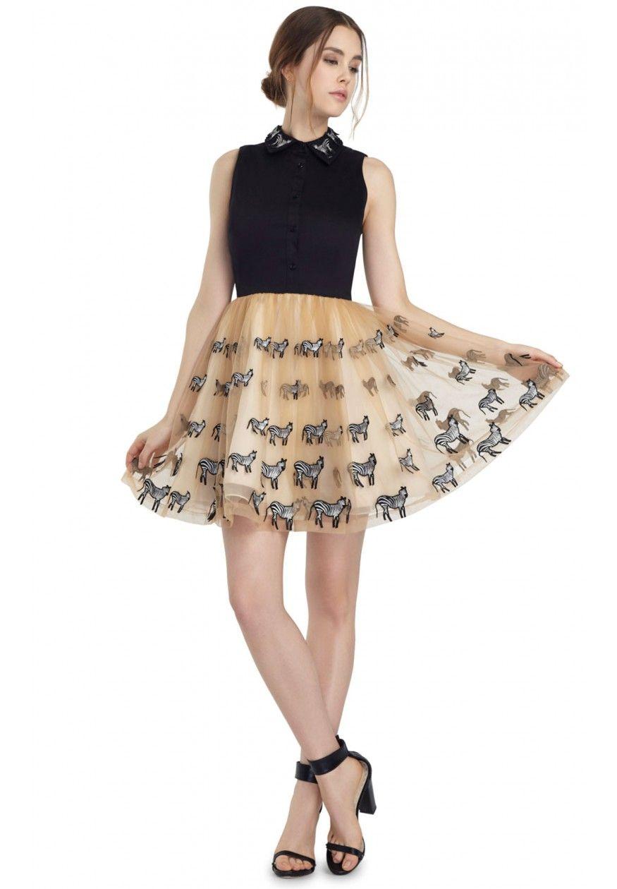 PREENA POUF DRESS in NUDE/ZEBRA MULTI by Alice + Olivia | Runway ...