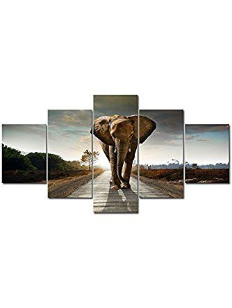 Wieco Art - Elephant Large Size 5 Panels Modern Giclee Canvas Prints Animals Landscape Artwork Pictures to Photo Paintings on Canvas Wall Art Décor for Living Room Bedroom Home Decorations ❤ Wieco Art