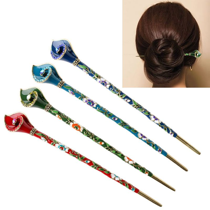Floral Design Women Vintage Alloy Wooden Hair Stick Hair Chopsticks Hairpin