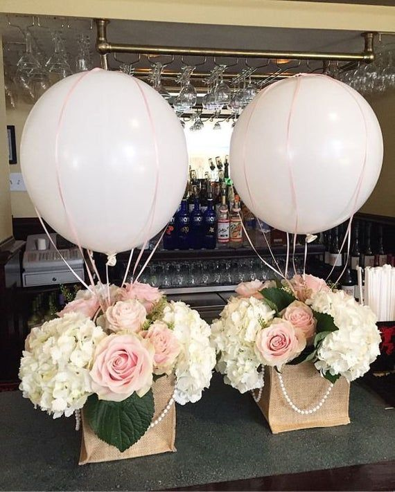 "Hot Air Balloons & Nets 16"", 17"" Balloons Bridal Shower Baby Shower Birthday Party Gender Reveal Bon Voyage Table Centerpiece Hot Air Balloo"