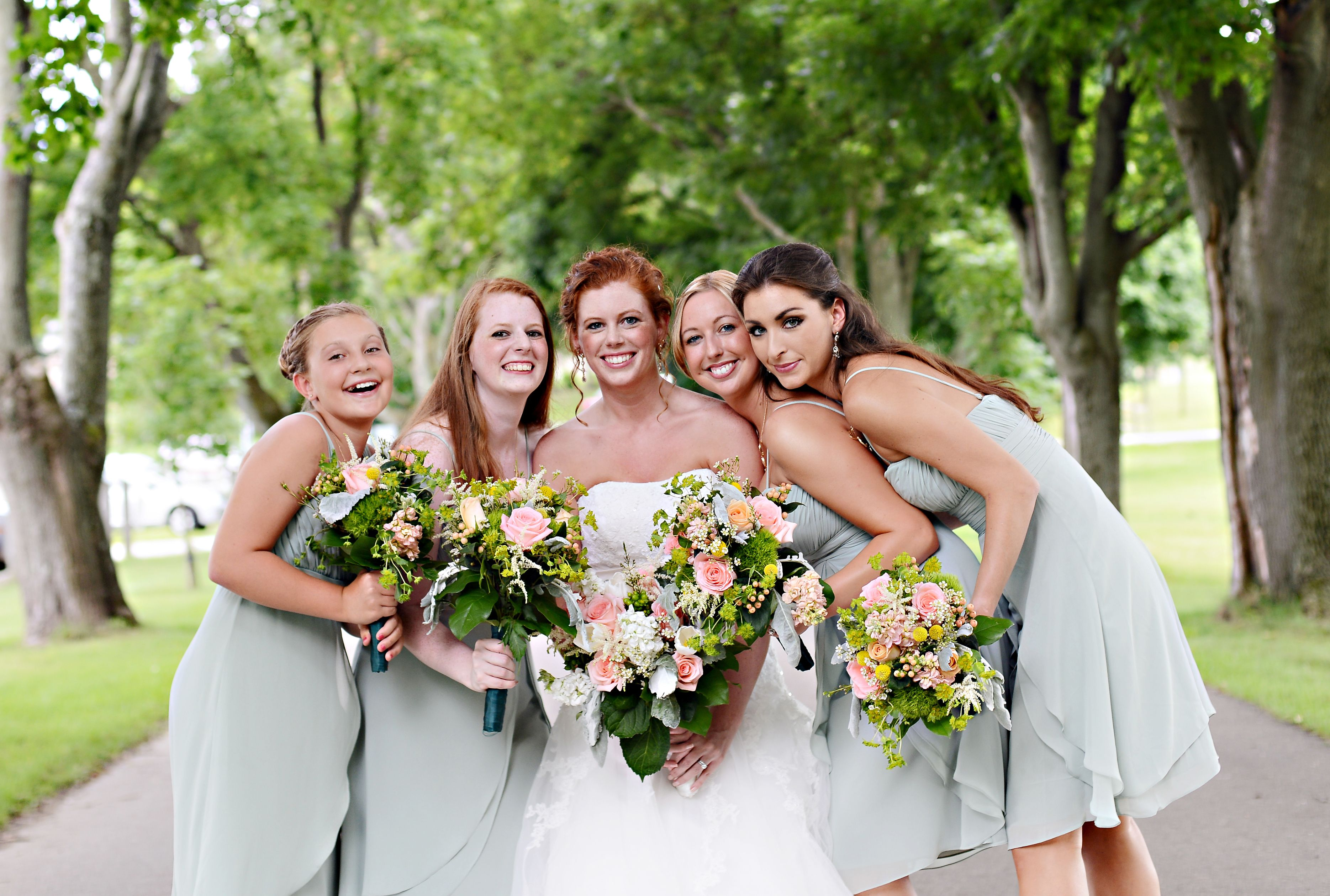 Bill levkoff bridesmaid dresses in pistachio coral and green bill levkoff bridesmaid dresses in pistachio coral and green bouquets ombrellifo Image collections