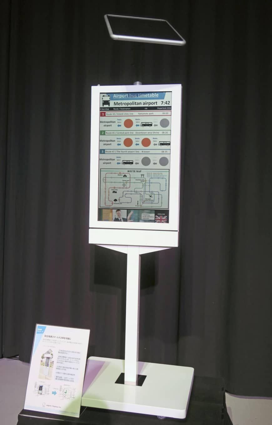 Japan Display Unveils Smart Bus Stop That Runs On Solar Power And Can Display Schedules Japan Display Inc Unveiled A Smart Bus Sto Solar Power Bus Stop Solar