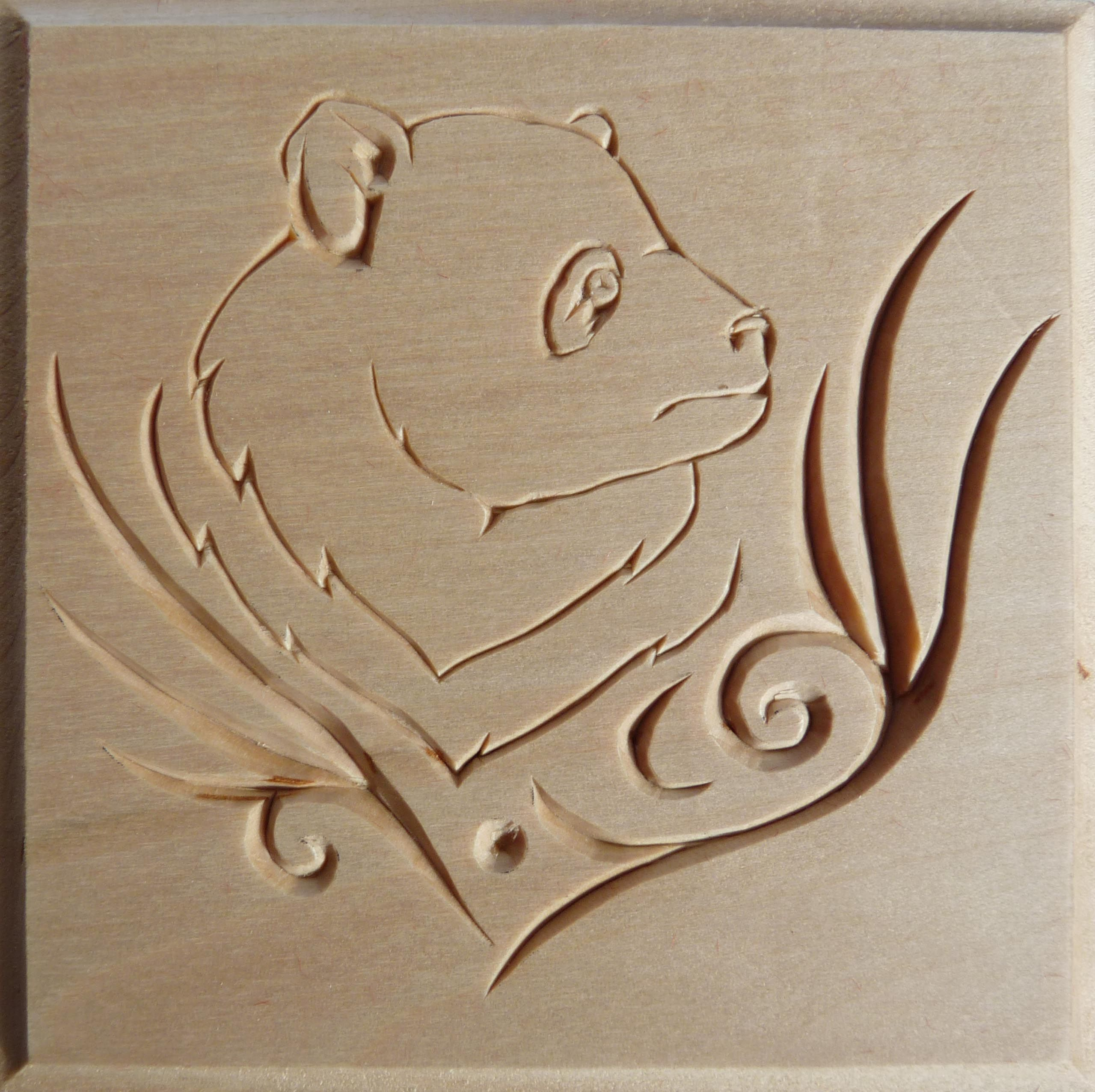 Commemorative chip carved box panda design by marty