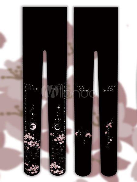 51364d604164d Sweet Lolita Socks Floral Moon Printed Cotton Lolita Stockings - Milanoo.com