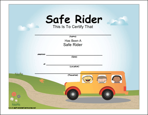 A fun, colorful certificate to be presented to a child who has ...