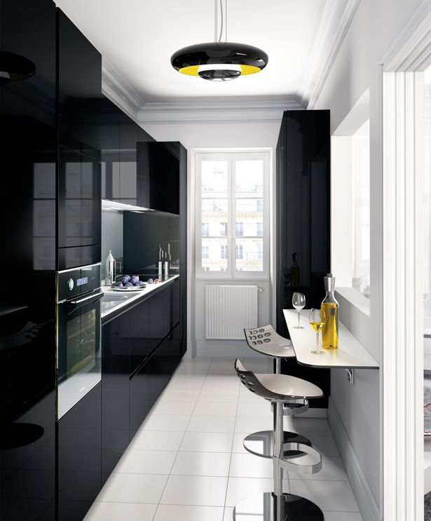 Cuisines, petits espaces Kitchens, Interiors and Narrow kitchen - plan maison sans couloir