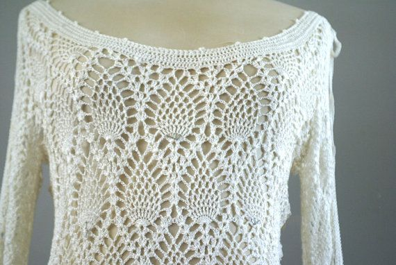 Boho Open Slit Sleeved Crocheted Blouse by MidCenturecycled, $25.00