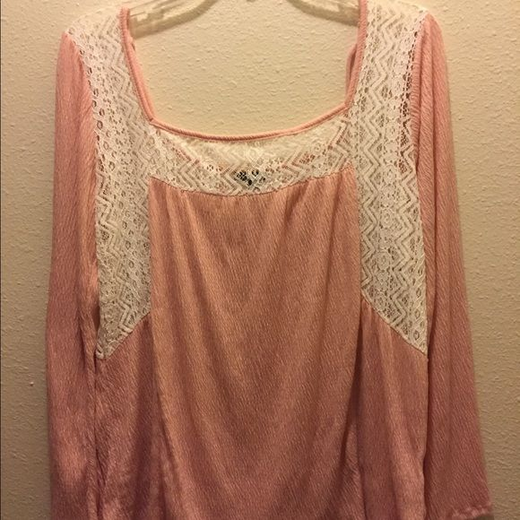 Cute Top Never been worn peach color light weight top with tie up in the back and lace inserts Tops