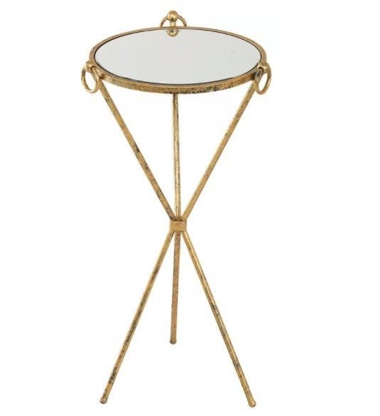Metal Side Table Vintage Mirrored Top Small Round Coffee