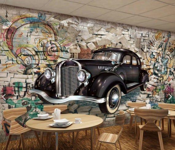 wall mural car, wallpaper mural,  wallpaper for bedroom, removable wallpaper mural for bedroom, wall decor, home decor