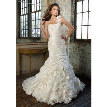 Mermaid Sweetheart Chapel Train Taffeta Wedding Dress with detachable floral strap and ruffled skirt    $630.00