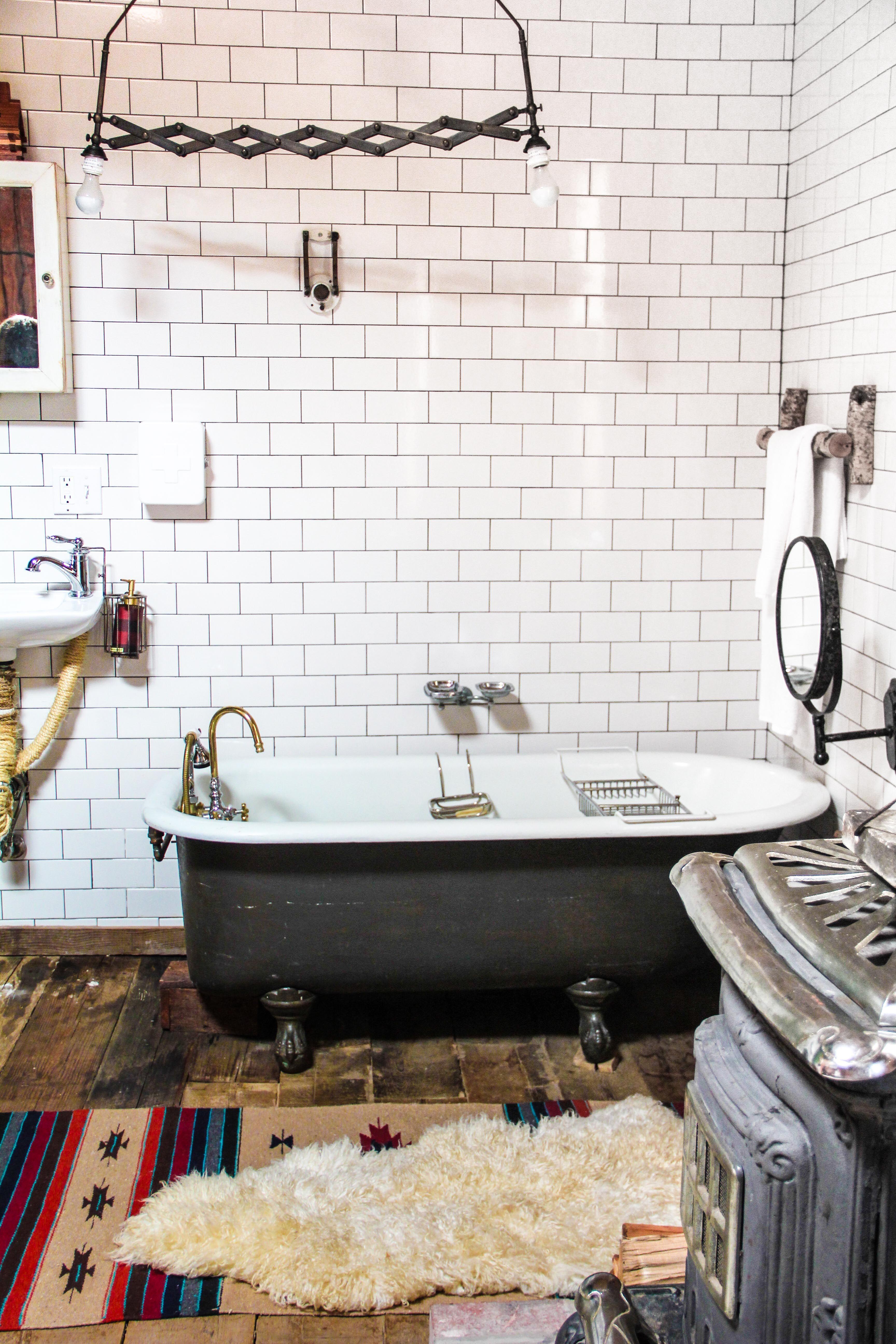Fantastic Bathroom and bathtub at Urban Cowboy in Brooklyn. www.mynameislilyrose.com