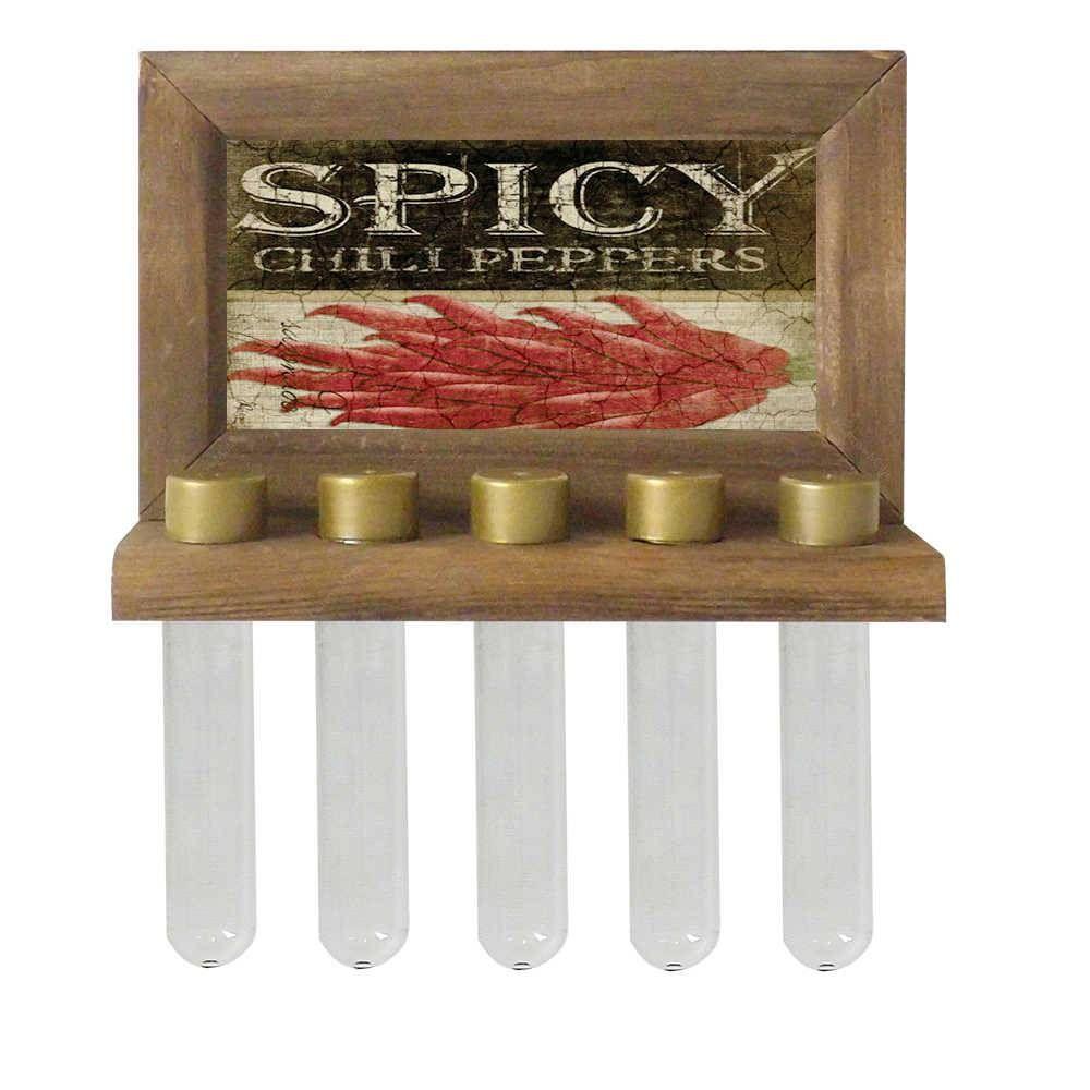 Porta-Temperos de Parede Spicy Chili Pepers em Madeira - 24,5x16,5 cm