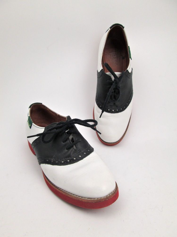 2ea820ef472432 Bass women s 6.5 M classic black white leather saddle shoe oxford red soles   Bass  Oxfords  Casual