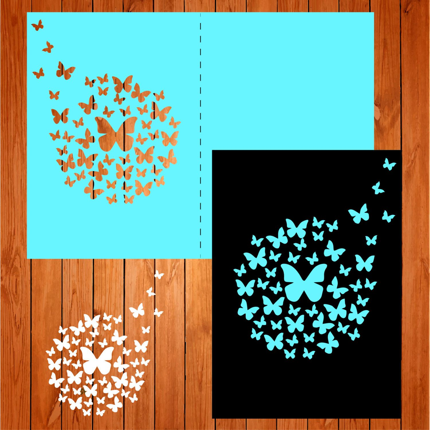 Invitation of the wedding card template, butterflies (studio V3, svg ...