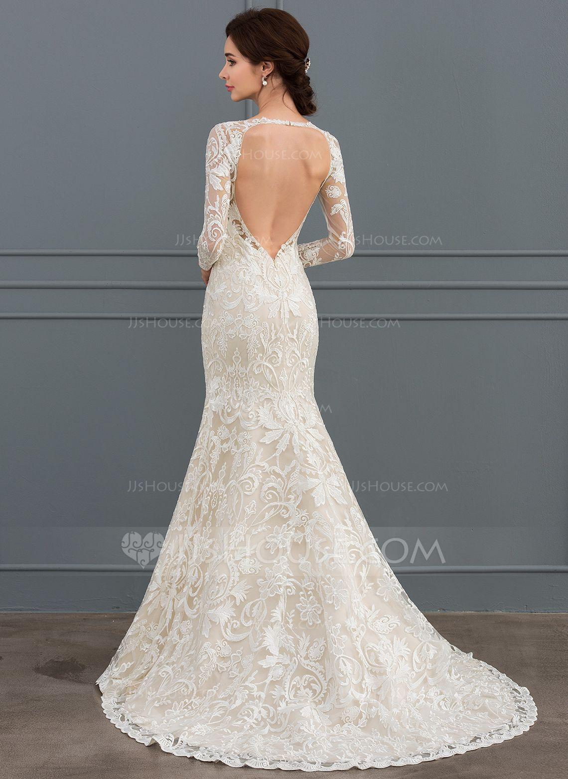 Us 322 00 Trumpet Mermaid V Neck Sweep Train Lace Wedding Dress Jj S House Wedding Dresses Affordable Wedding Dresses Wedding Dresses Romantic [ 1562 x 1140 Pixel ]