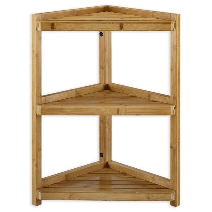 Haven No Tools Bamboo Corner Shelf Bed Bath Beyond Shelves Corner Shelves Bamboo Bathroom