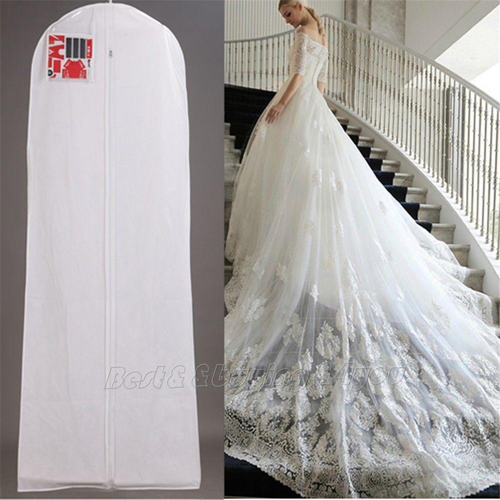 1x Wedding Dress Cover Storage Bags Dustproof Large Breath Bridal Gown Garment 160 170 180cm Free Shipping Wedding Gown Bag Wedding Dresses Wedding Dress Bags