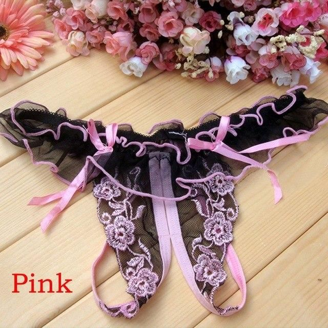 d9817d3624d3 1PC Sexy Women Girls Open Crotch Thongs Lace G-string Panties Knickers  Underwear Hollow Out