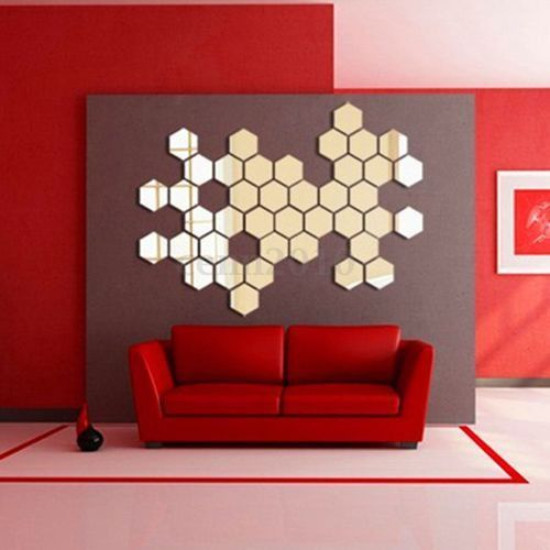 Modern Hexagonal Silver Acrylic 12pcs Mirror Wall Decal Decor Art Sticker Diy