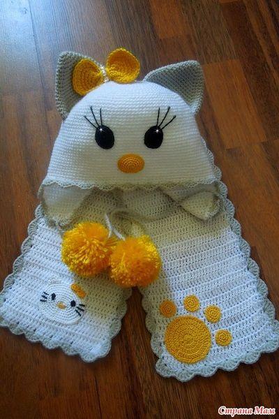 Hello Kitty Atkı ve Bere Takımı | örgü | Pinterest | Hola, Gato y Gorros
