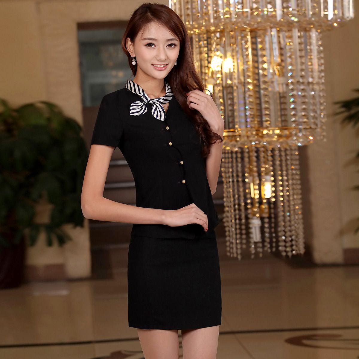 Seragam Hotel Musim Panas Pramugari Perempuan Pakaian Lengan Pendek Resepsionis Manager Kecantikan Kasir