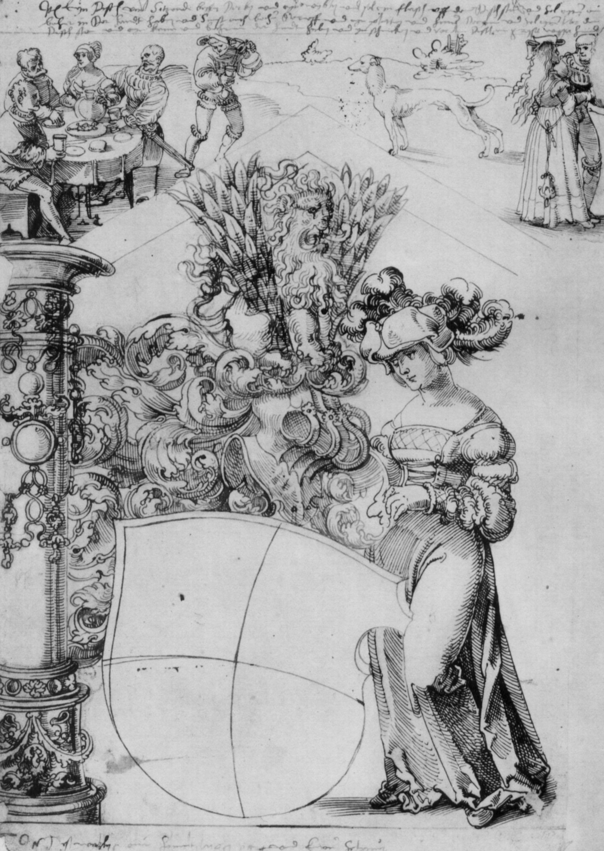 artist baldung grien hans title wappen des grafen von zweibrucken zu bitsch mit dame als schildhalterin obere szene trinkgela kunstler kunstwerke zeitgenössische kunst buch bilder modern abstrakt