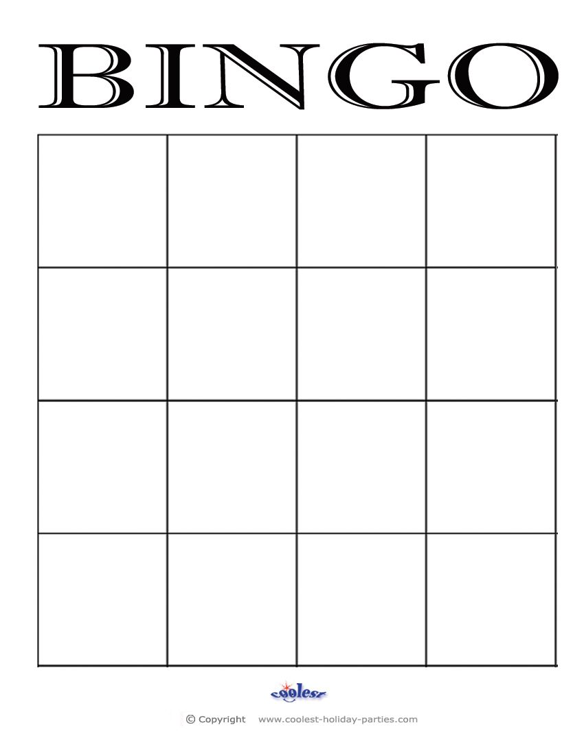 4x4 Blank Bingo Card Template | 4h teaching ideas | Pinterest ...