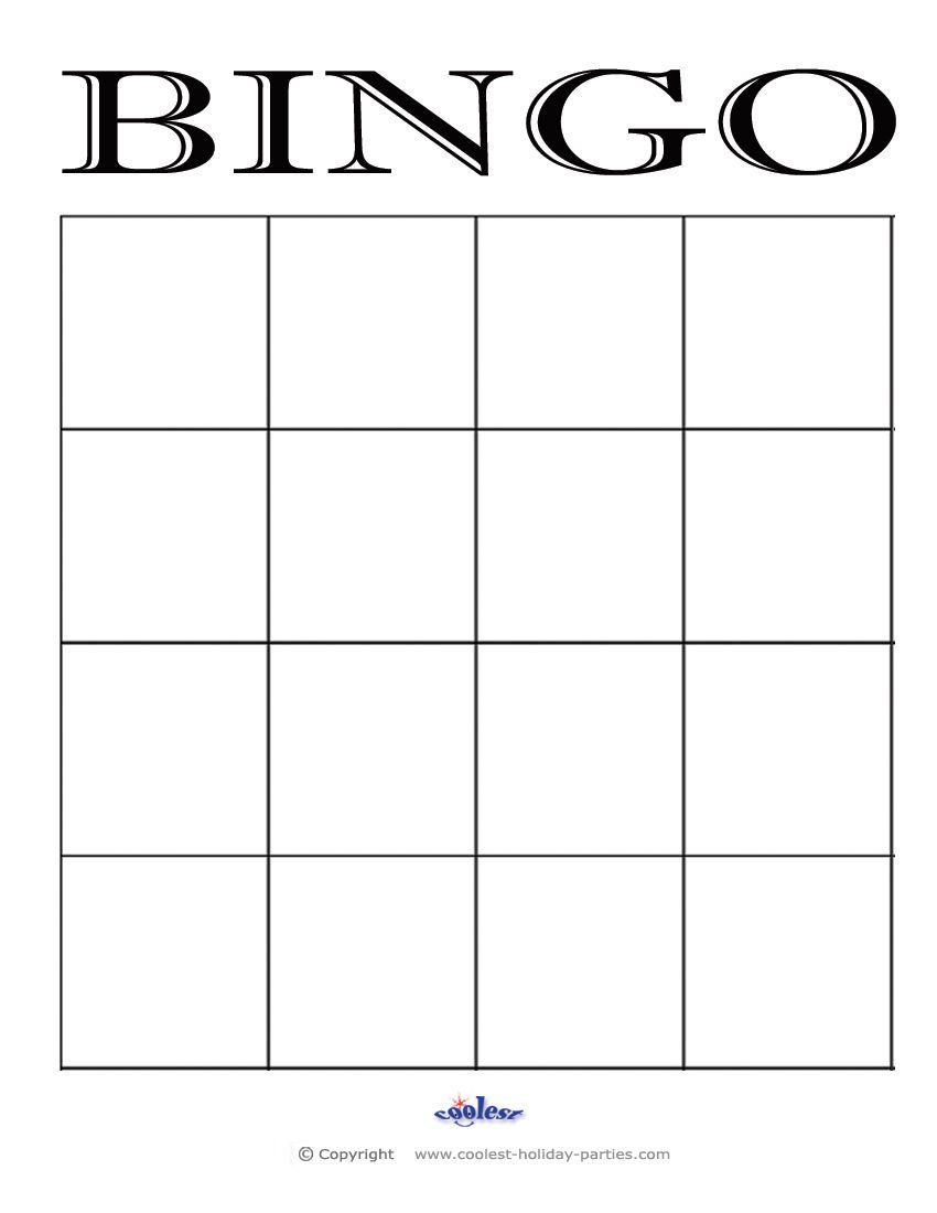 4x4 Blank Bingo Card Template