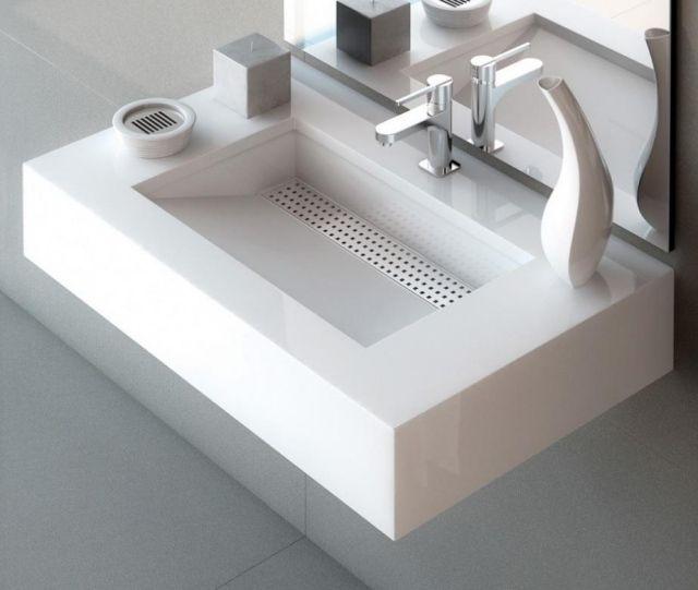 Waschbecken modernes design  waschbecken weiß rechteckig platzsparend simplicity silestone ...